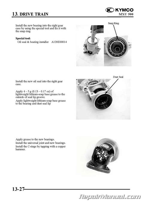Kymco Mxu Atv Swingarm Solid Rear Axle Service Manual
