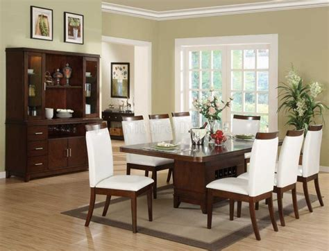 Furniture Cream Brown Dining Room Silver Pendant Lights