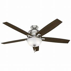 Ceiling fan light volts : Hunter donegan in led indoor brushed nickel ceiling