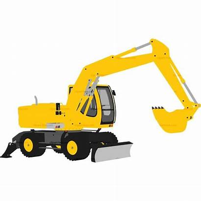 Excavator Clipart Vector Bulldozer Yellow Backhoe Crane