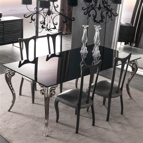 large black glass dining table set