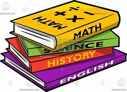 Books Cartoon Different Supplies Clipart Stack Math