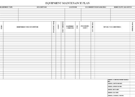 machine maintenance schedule template printable receipt