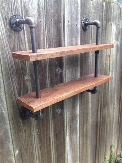 diy pallet  iron pipe wall hanging shelf pallet furniture diy