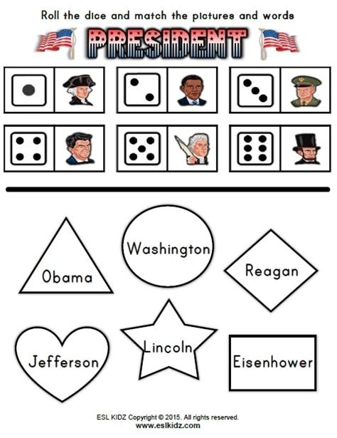 presidents day activities games  worksheets  kids