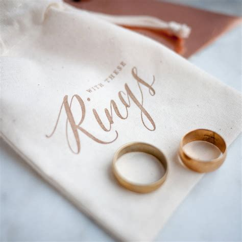 gold calligraphy wedding ring bag by print for of