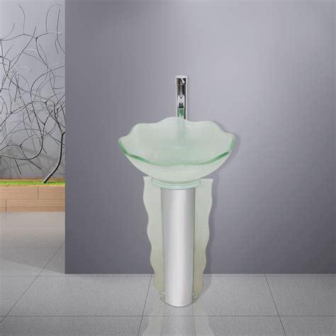 Modern Bathroom Glass Vanities by Modern Frosted Glass Bathroom Vanities Pedestal Vessel