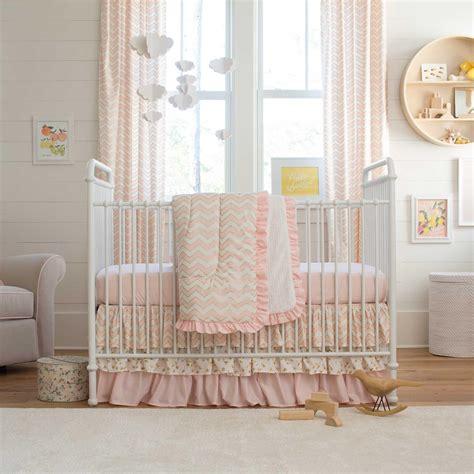 Pale Pink And Gold Chevron 3piece Crib Bedding Set