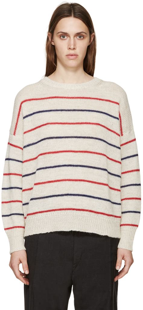 marant sweater étoile marant beige striped gatland sweater in