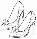 Coloring Sandals Lady Illustration sketch template