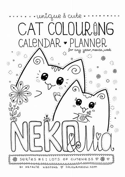 Cat Colouring Printable Cats Planner Calendar Colour