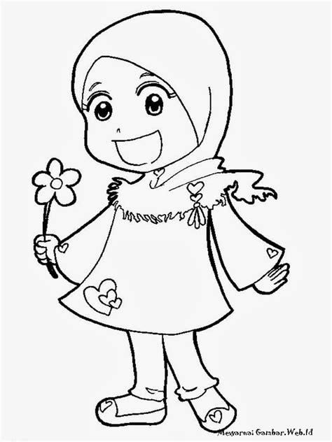 gambar gambar mewarnai islami kartun muslimah diwarna di