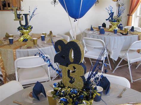 graduation table decor ideas lasalle graduation gold blue and