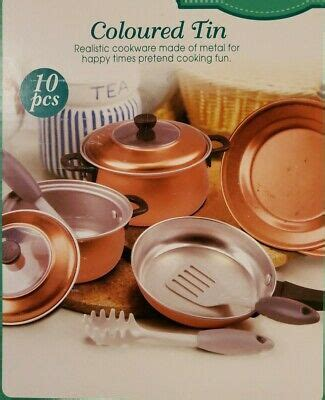 metal cookware coloured tin kids realistic copper colored cookware ebay