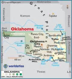 Large Oklahoma State Map Cities