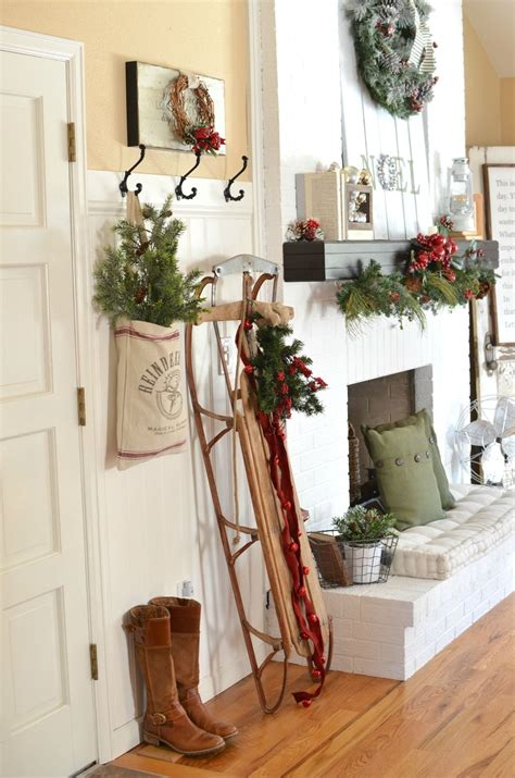 vintage christmas entryway holiday decorations