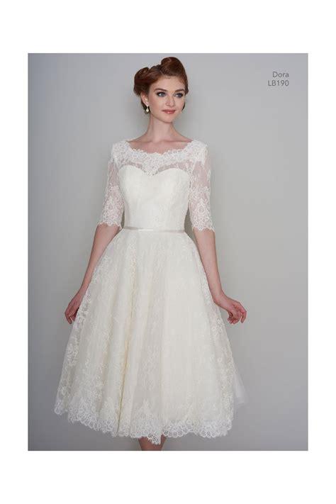 Lb190 Dora Tea Length Vintage Lace 1950s 60s Short Wedding