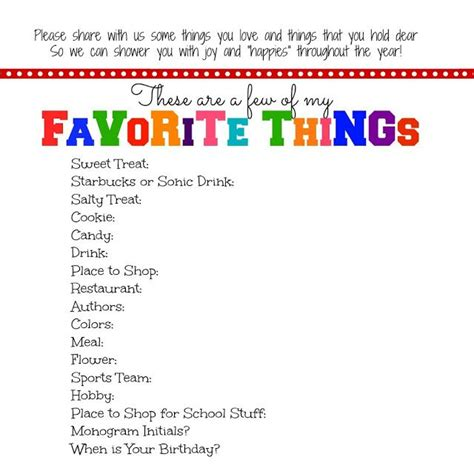 my favorite things list template everyday blessings s favorite things printable gift ideas favorite