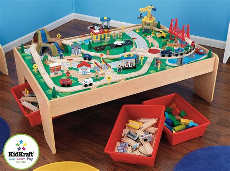 thomas wooden railway table wooden train table kidkraft 120 piece waterfall train set