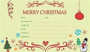 Xmas gift certificate template invitation template for Printable christmas gift certificates