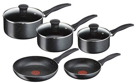 tefal  stick origins  piece set  frying pan  saucepan lids bs ebay