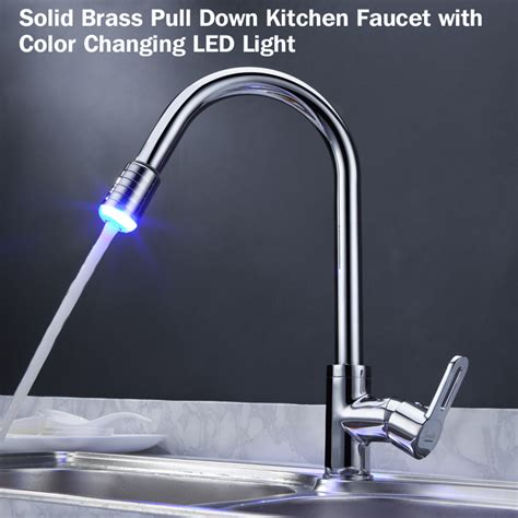 kitchen faucet with led light x solid brass pull kitchen faucet with 8063
