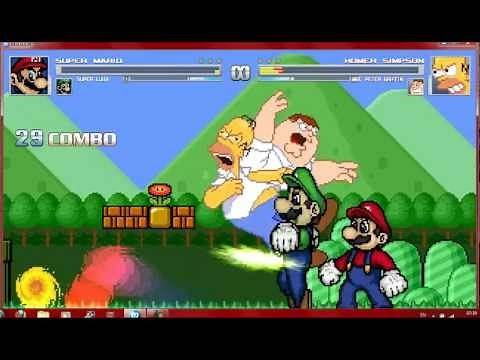 Mugen Mario Bros vs Homer Simpson & Peter Griffin
