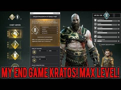 God Of War   My END GAME KRATOS! - Max Level, Max Weapon Level, Best Armor & 3 Valkyrie Boss Fights!