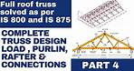 4. Roof truss design | Load calculation, Purlin design, Member design | IS code | Steel truss |