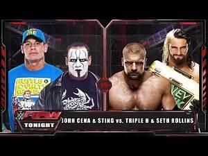 WWE RAW 15 - John Cena & Sting vs Triple H & Seth Rollins - WWE RAW Full Match HD!