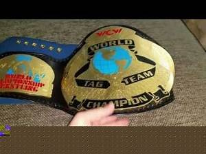WCW tag team championship belt (replica) on real leather