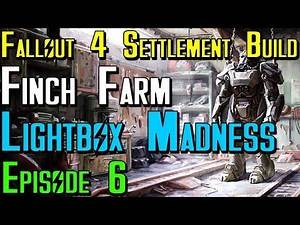 Fallout 4 Settlement Build: Lets Build Finch Farm Ep6 Lightbox Madness