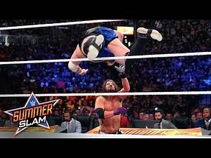 Samoa Joe flattens AJ Styles with stunning dive from the ring: SummerSlam 2018 (WWE Network)