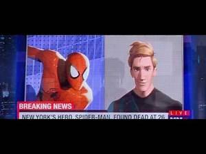 Spider man into the spider verse - Peter Parker Death news scene.