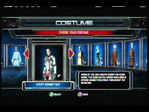 Star wars the force unleashed- all characters/costumes on xbox 360