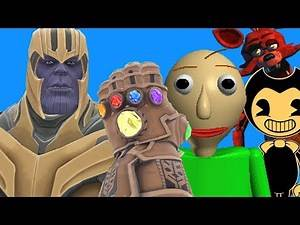Can Thanos' INFINITY GAUNTLET Kill BALDI, BENDY & FOXY in Gmod!? - Part 2!