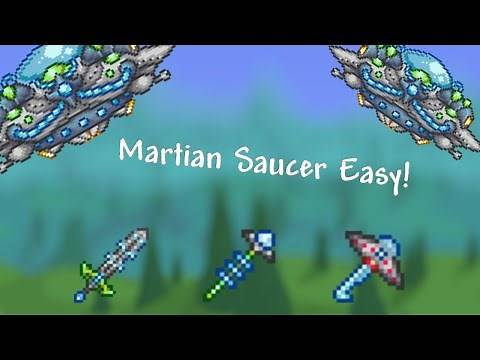 Terraria 1.4 Easy Way to Defeat the Martian Saucer! Master Mode | Low End Gear High End Gear!