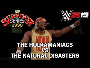 WWE 2K19 - Hulkamaniacs vs The Natural Disasters - WWF Survivor Series 1990 Highlights