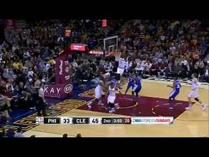 LeBron James' huge alley-oop from JR Smith vs 76ers!