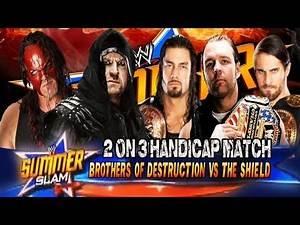 WWE Summerslam 2013 The Undertaker & Kane vs The Shield Handicap Full Match HD!