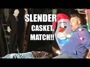 SLENDER MAN VS FAT MAN CASKET TABLE MATCH Backyard Wrestling Action