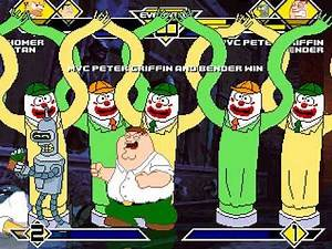 Homer Simpson and Stan Smith vs MVC Peter and Bender MUGEN BATTLE