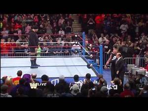 HD Jan 6 2014 RAW Old School - Brock Lesnar Broke Mark Henry Arm but wasThrown off Ring by Big Show