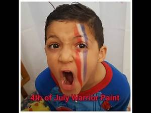 Fourth of July Warrior Face Paint Tutorial/ 4th of July Face Paint