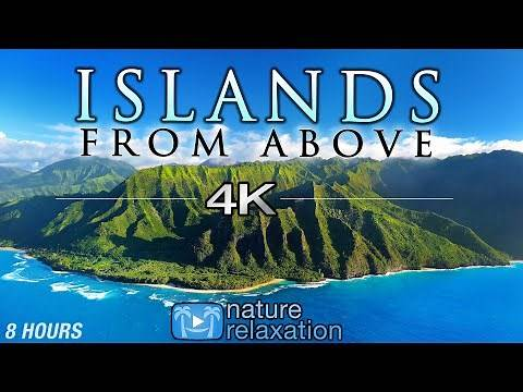 """8 HOUR DRONE FILM: """"Islands From Above"""" 4K Music by Nature Relaxation™ (Ambient AppleTV Style)"""