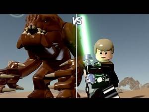 LEGO Star Wars: The Force Awakens - Rancor vs Luke Skywalker - CoOp Fight | Free Roam Gameplay [HD]