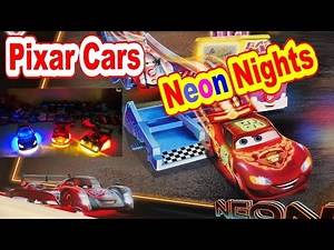 Pixar Cars Neon Nights Play Set Unboxing and Toy Review with Neon Lightning McQueen