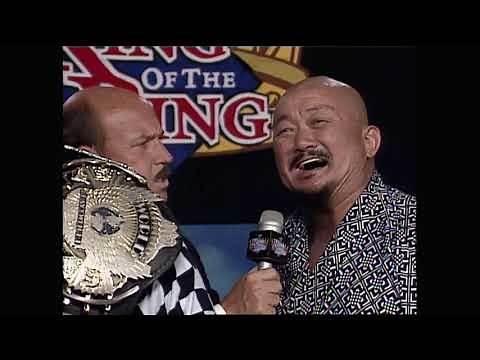 Yokozuna (with Mr Fuji) promo after winning the WWF title at King of the Ring 1993. (WWF)