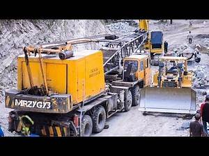 Mobile Crane In Trouble Rescued By Excavator And Bulldozer