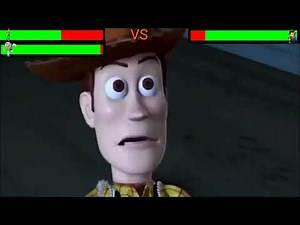 Woody and Buzz vs Prospecter with healthbars